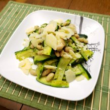 Grilled Zucchini Ribbons with Pesto and White Beans